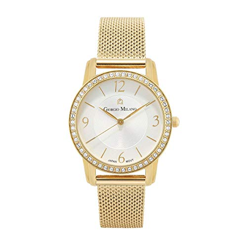 - Giorgio Milano Women's Watch Stainless Steel Round case with Stones on Bezel. Dial with Numbers, Stainless Steel mesh Band. (Gold)