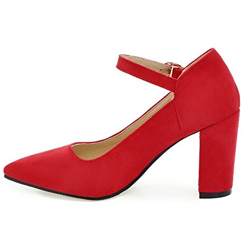 Red Retro Women Jane Pumps Mary KemeKiss Pointy YRqxBWd