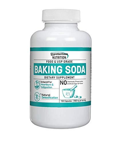 Baking Soda Capsules, 150 Capsules, 1,500 mg/Serving by Unpretentious Nutrition, Sodium Bicarbonate Antacid, for Acid Indigestion & Heartburn