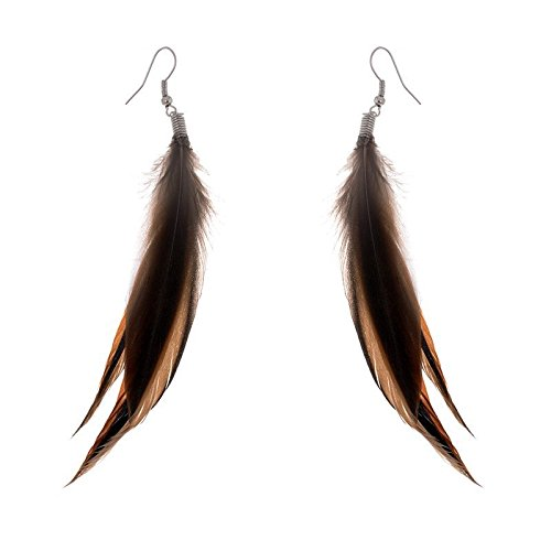 Lureme Bohemian Style Brown Feathers Dangle Earrings for Women and Girls (02004756)