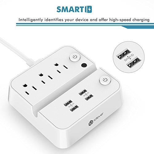 [Separate Switch Control] iClever BoostStrip IC-BS02 Smart Power Strip | USB Charger with 4 USB + 3 AC Outlets, Dual Switch Control Charging Station and Phone/Tablet Stand - White by iClever (Image #4)
