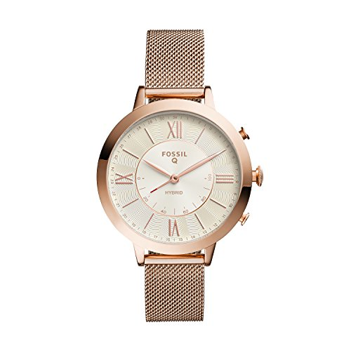 Fossil Women's Jacqueline Stainless Steel Mesh Hybrid Smartwatch, Color: Rose Gold (Model: FTW5018)