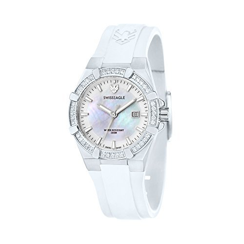 Swiss Eagle Women's SE-6041-04 Glide Analog Display Swiss Quartz White Watch -