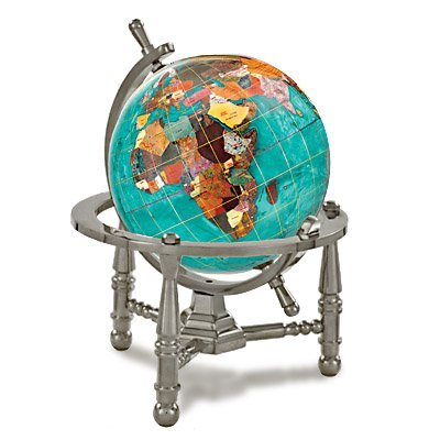 Opal Silver Globe (Kalifano Bahama Blue 4-in. Gemstone Globe with Nautical Stand Antique)