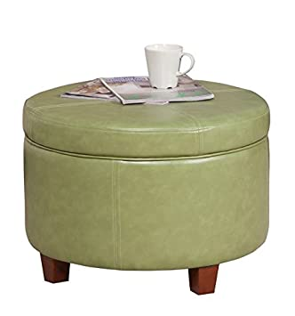 Awesome Homepop Round Leatherette Storage Ottoman With Lid Moss Green Theyellowbook Wood Chair Design Ideas Theyellowbookinfo
