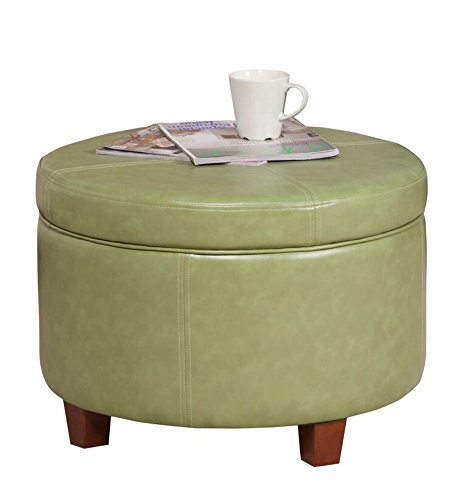 HomePop Large Leatherette Round Storage Ottoman with Removeable Lid, Moss ()