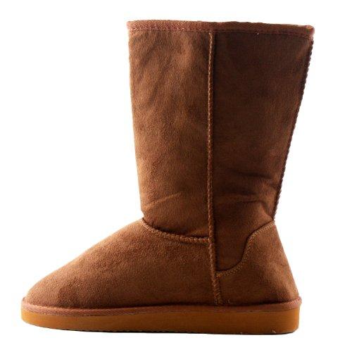 Soda Frauen Soong Comfort Faux Wildleder Fell Mitte-Kalb Flachen Stiefel, Nat, 8 M US Dunkles Kamel Wildleder