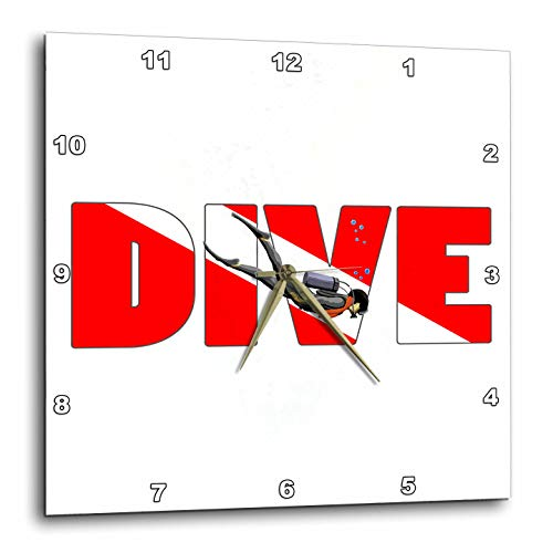 3dRose Macdonald Creative Studios – Scuba - Scuba Diver with Dive in The red and White Dive Flag Colors. - 10x10 Wall Clock (DPP_299200_1) -