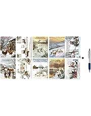 100 Luxe Kerst- en Nieuwjaarskaarten met Pen - 9,5x14cm - 10 x 10 dubbele Kerstkaarten met enveloppen - serie Winterlandschap