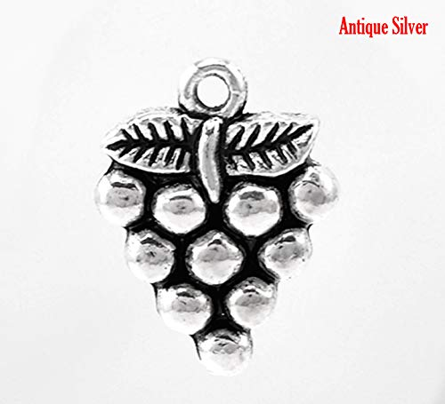 silver grape charms - 5