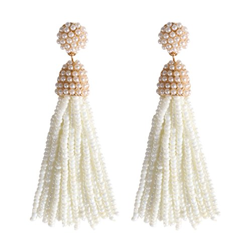 NLCAC Women's Beaded tassel earrings Long Fringe Drop Earrings Dangle 6 Colors (pearl) - Pearl Fringe Earrings
