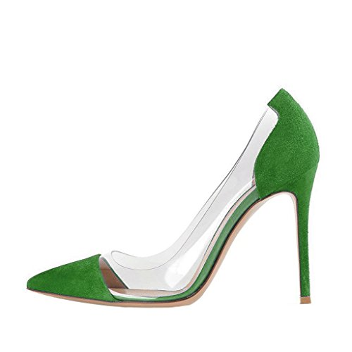 Fsj Donna Elegante Stiletto Trasparente Pompe Tacchi Alti Slip On Party Wedding Dress Shoes Size 4-15 Us Green