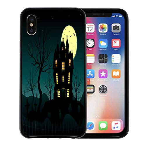Emvency Phone Case for Apple iPhone Xs Case/iPhone X Case,Autumn Blue Horror Halloween Haunted House Creepy Bats Cemetery Soft Rubber Border Decorative, Black]()
