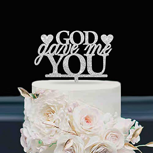 (KISKISTONITE Wedding Cake Toppers Love, God Gave Me You Words, Religious Christian Anniversary Favors Party Cake Decorating Supplies | Glitter Silver)