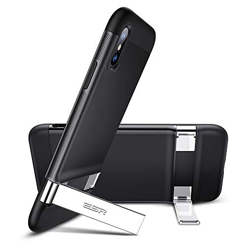 Kickstand Case - ESR Metal Kickstand Case for iPhone Xs/X, [Vertical and Horizontal Stand] [Reinforced Drop Protection] Hard PC Back with Flexible TPU Bumper for The iPhone Xs/X, Black