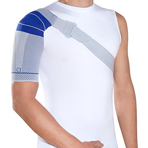 Bauerfeind OmoTrain S Shoulder Support, Titanio/Gris con Azul (Titanium/Gray with Blue Accents), Left 0