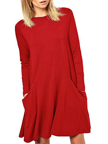 Women's Long Sleeve Pockets Casual Swing Plain T-shirt (Red Tunic Dress)