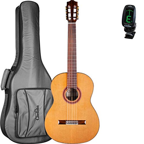 Cordoba C7 CD Acoustic Nylon String Classical Guitar With Gig Bag and Cordoba Clip-On Tuner (04675) ()