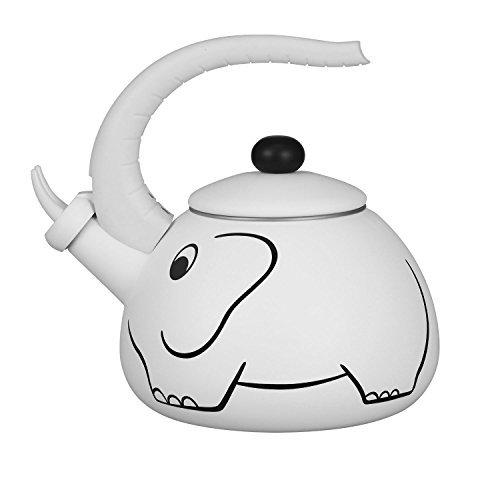 Gourmet Art White Elephant Enamel-on-Steel Whistling Kettle by Supreme Housewares (Image #1)