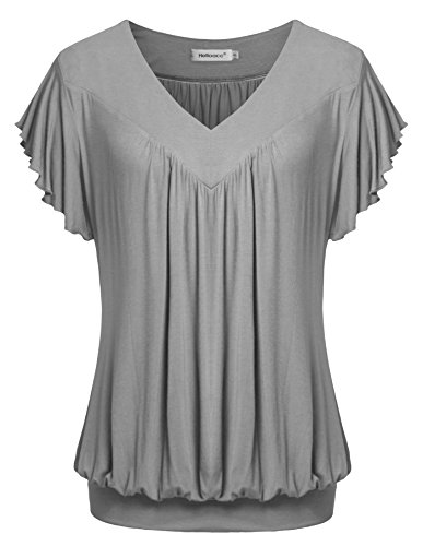 Helloacc Banded Hem Tops for Women,Ladies Short Sleeve V Neck Lightweight Comfy Vintage T Shirt Formal Blouses Grey 2XL