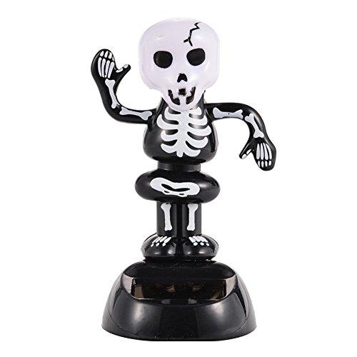 Zehui Solar Powered Dancing Halloween Decoration Home Desk Dancer Bobble Toys - Black Skeleton]()
