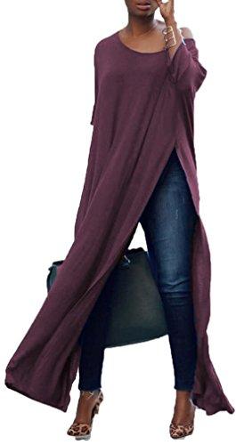 Ehcojdeb Women One Off Shoulder Batwing Long Sleeve High Split Maxi Tops Long T Shirts Dress