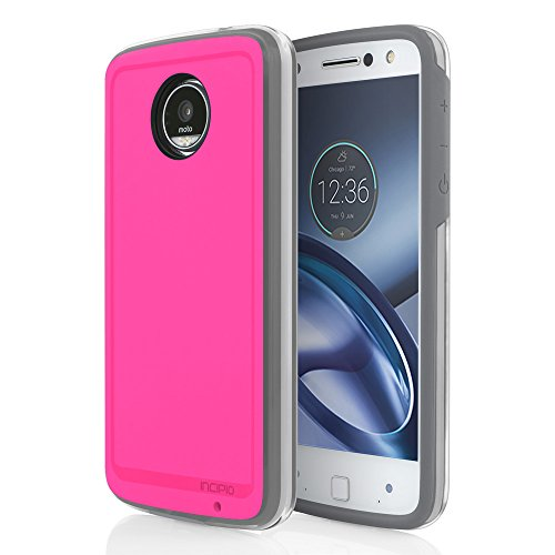 Moto Z Play case, Incipio [Performance Series] Level 4, Ultra-Rugged Drop Protection Polycarbonate for Moto Z Play Cover -Pink/Gray by Incipio