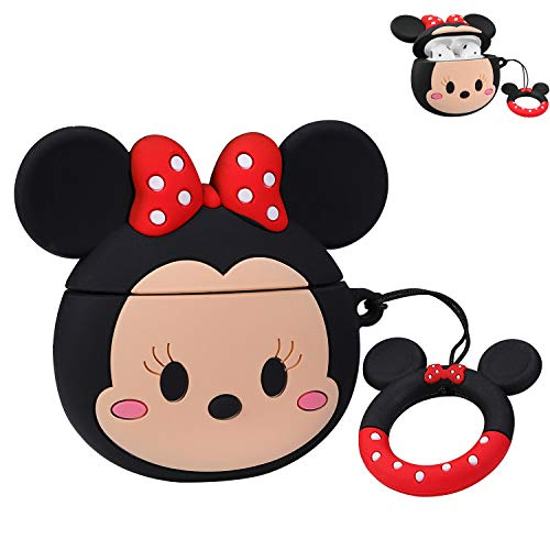 Jocci For Airpods 1&2 Case,Cute Cartoon Character Soft Silicone Airpod Funny Cover,Kawaii Fun Cool Keychain Design Skin,Fashion Animal Designer Cases for Girls Kids Teens Boys Air pods(Q Minnie Mouse)