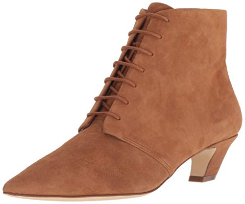 Nine West Women's YENDIRA Suede Ankle Boot, Dark Natural_260, 7.5 M US