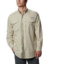 Columbia Men's Bonehead Short Sleeve Fishing Shirt (Fossil, X-Large, Tall Inseam)