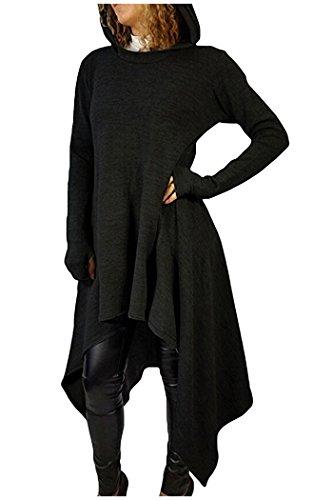 Kumer Women's Asymmetric Hem Long Sleeve Hoodies Sweatshirts Dress Loose Casaul Tunic Tops