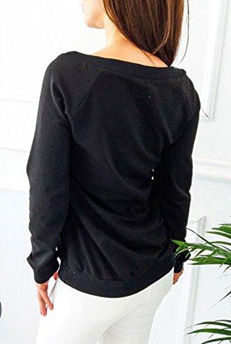 Forme Longue Shirts Blouse T Sweat Femme Chemisiers Hauts JackenLOVE Tops Coeur Shirt en Imprim Noir Casual Automne Hiver Sweats Manche de qxtUw0T8