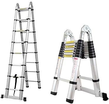 Escalera telescópica plegable multiusos de aluminio de 5 m, un marco extensible paso – 150 kg – Reino Unido: Amazon.es: Bricolaje y herramientas
