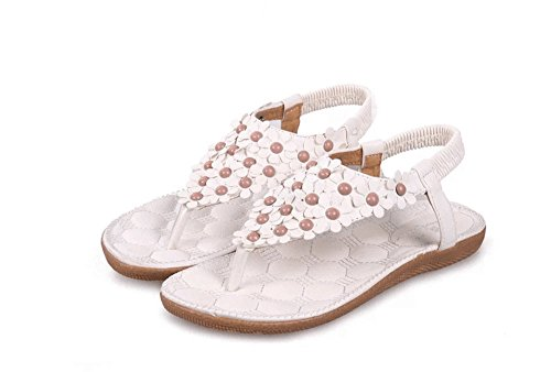 Newyork Offerta Negozio Donne Bohemi Sandali Con Cinturino Fiore Perline Yoga Flip Flop Flats Slingback Perizoma Completo Floreale-bianco