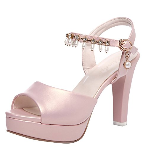 Carolbar Women's Chic Grace Beaded Block High Heel Buckle Sandals Pink UaxDbq