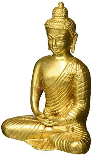 (Buddhist Art Brass Statue Meditation Buddha for Peace and Calm Home Décor 6 inch)