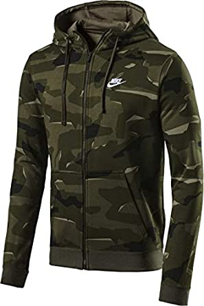 56bd66fae883 Amazon.com  Nike Sportswear Club Fleece Men s Full-Zip Camo Hoodie  Clothing