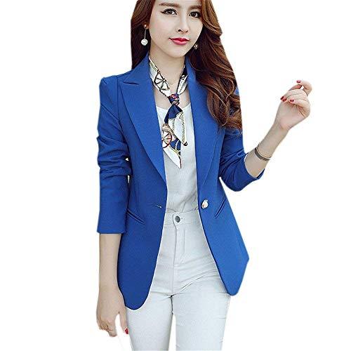 Blazer Blazer Blazer Giacche Slim Blau Ufficio Moda Outerwear Autunno Autunno Autunno Autunno Business Ragazza Puro Fit Chic Lunghe Tailleur Maniche Bavero Elegante Primaverile Donna Colore pI6xq7