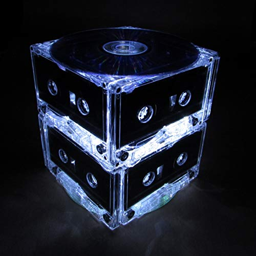 Standard Two Tier White Cassette Tape Party Light, Night Light, Wedding Table Centerpiece with 50 Bright Battery Operated LED Lights
