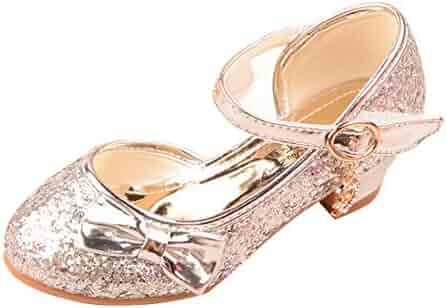 972e8f4dada5 YIBLBOX Glitter Bow Girls Mary Janes Kids Low Heel Sandals Wedding Party  Princess Dress Shoes