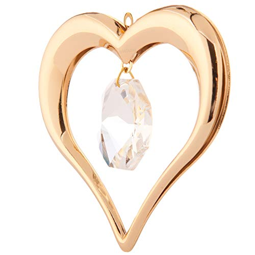 24K Gold Plated Highly Polished Heart Ornament Made with Genuine Matashi Crystals