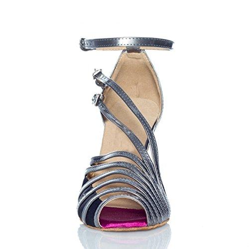 Minishion Qj6105 Kvinna Peep Toe Pu Läder Salsa Tango Balsal Latinska Dansskor Grå-10cm Häl