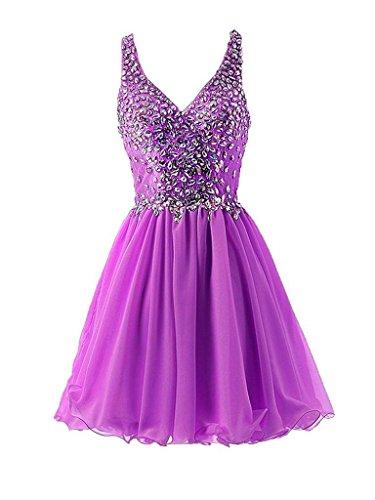 Abendkleider Promkleider Partykleider Cocktailkleider mit Brau Violett Abschlussballkleider La 2018 Steine mia Kurzes 1pnSqwUA