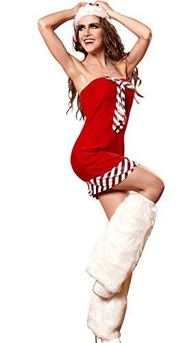 EOZY Robe Mère Noël Femme Rouge Bustier Mini Bonnet Jambière Nuit Costume