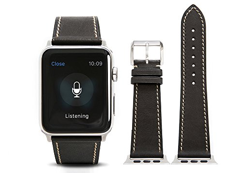 Apple Watch Band,Calf leather Black fit 42mm Watch Strap with Polished Pin (Black Custom Calf Accessories)