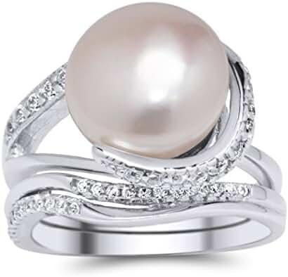 De Lelu Sterling Silver Freshwater Cultured Pearl Cubic Zirconia Ring Set