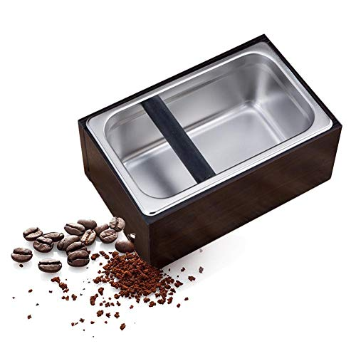 (Rectangular Coffee Knock Box,Wooden Espresso Coffee Knock Box Container with Stainless Steel Coffee Powder Barrel Holder Set )