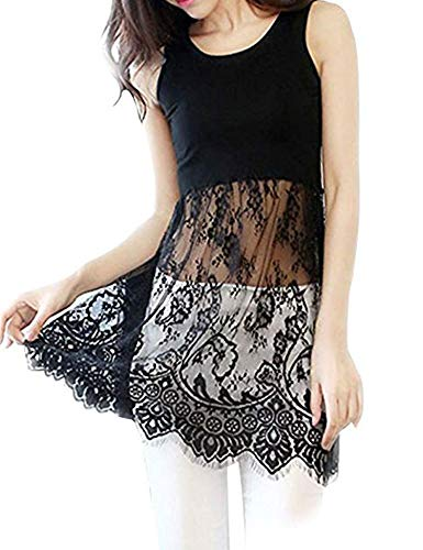 BEAUTEINE Womens Sexy Lace Trimmed Tank Top Shirt Extender ()