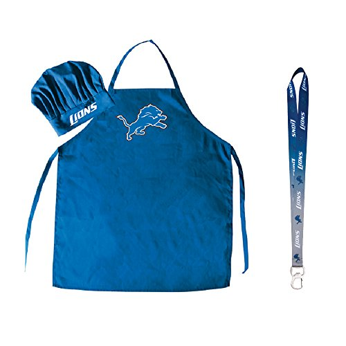 Pro Specialties Group NFL Barbeque Apron, Chef's Hat and Bottle Opener Gift Set (Detroit ()