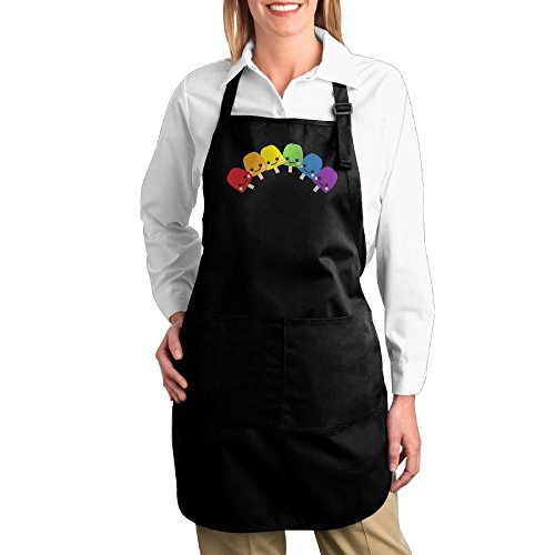 Dogquxio Rainboww Ice Cream Kitchen Helper Professional Bib Apron With 2 Pockets For Women Men Adults Black